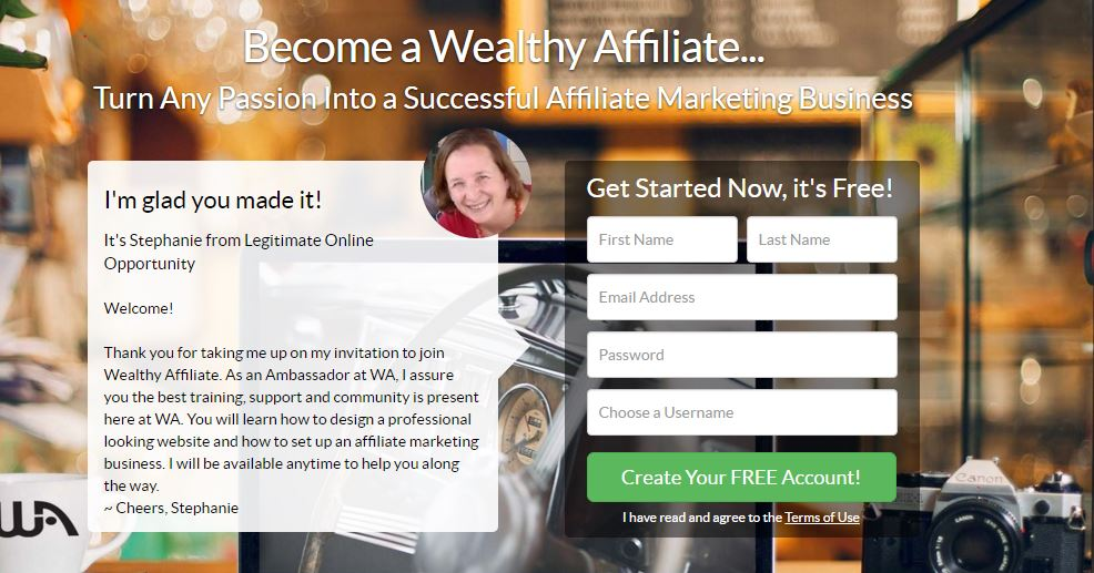 wealthy affiliate sign up page