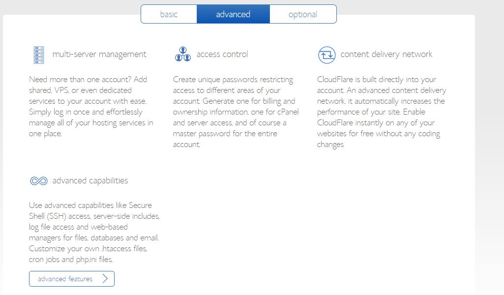 advanced Features of BlueHost account