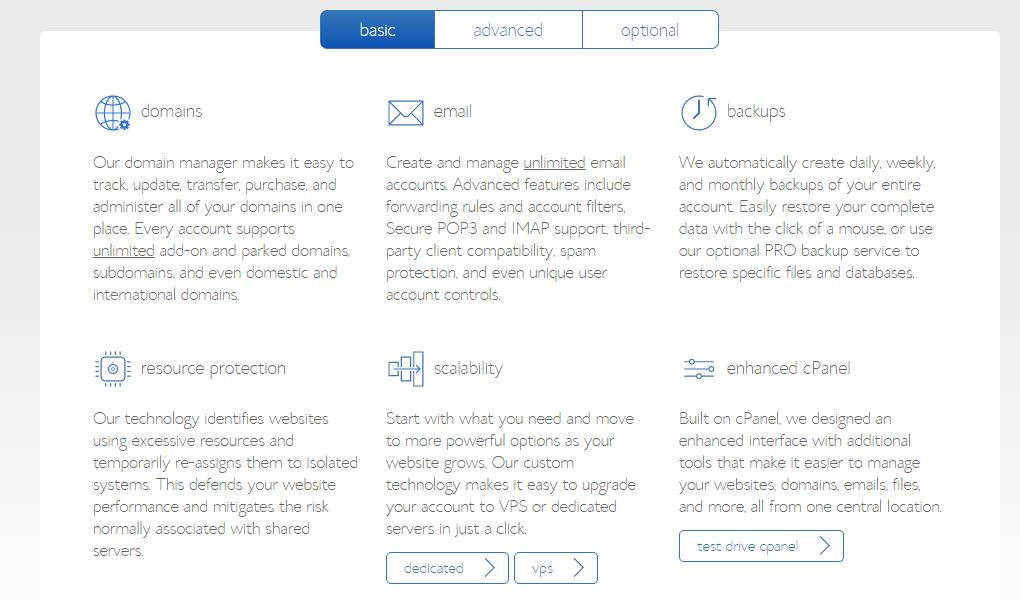 Basic Features of BlueHost account