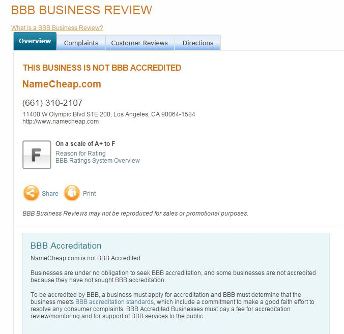 BBB (Better Business Bureau) has terrible rating for NameCheap
