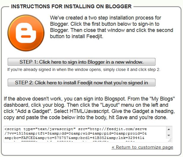 Instructions for a Blogger Blog