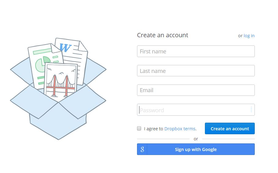 dropbox-create account