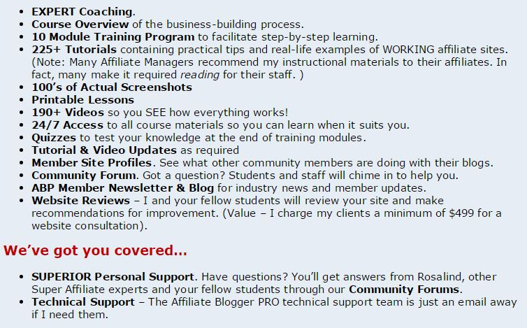 List of What You Get with Affiliate Blogger Pro