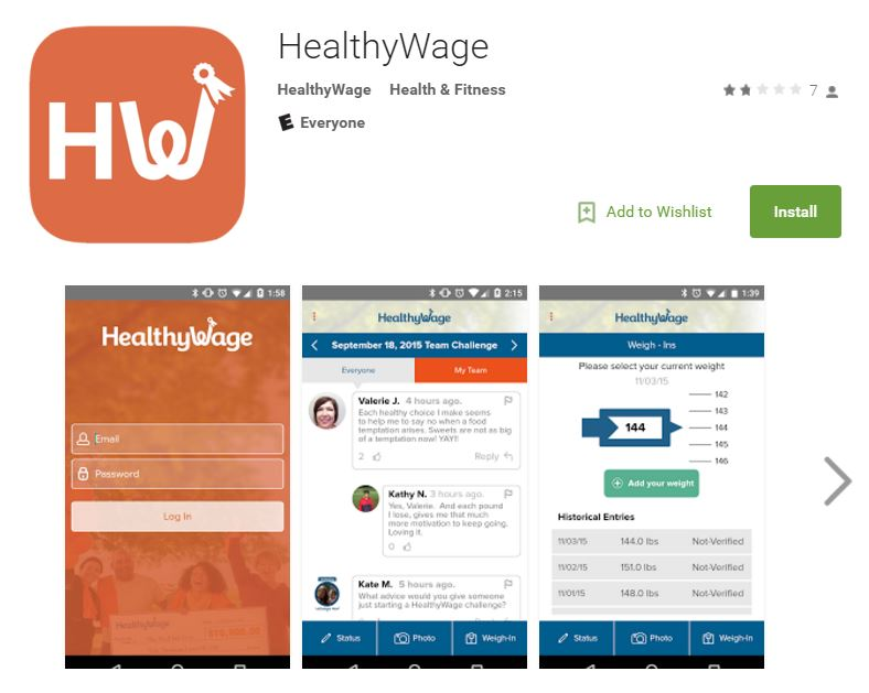 Healthy Wage App from Google Play Store