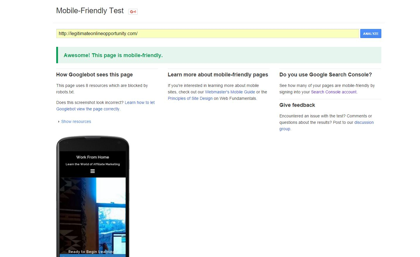 click here to test if your website is mobile friendly or not