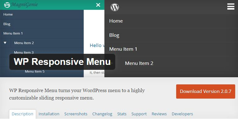 click to access the wordpress plugin WP esponsive menu
