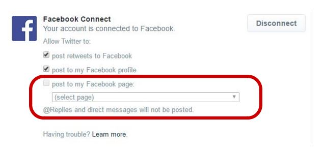 Select the option to post to my Facebook page