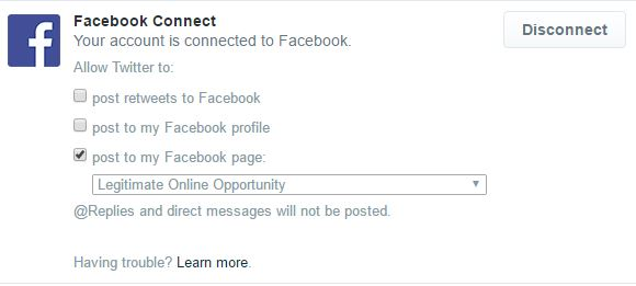 Select the name of your Facebook business page