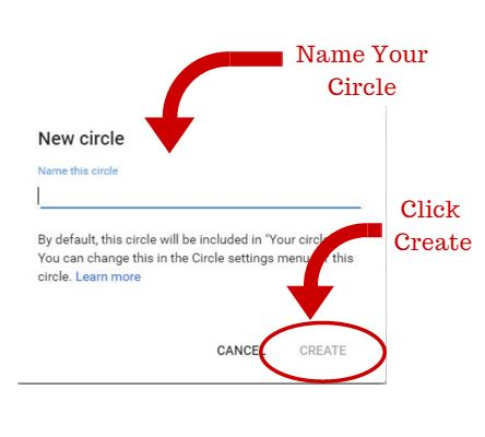 Name Your Circle and Click Create